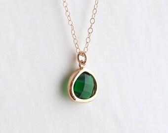 Emerald Necklace - Necklace - Gold Necklace - Stone Necklace - Emerald Birthstone Necklace - Pendant Necklace - Green Quartz Stone Necklace