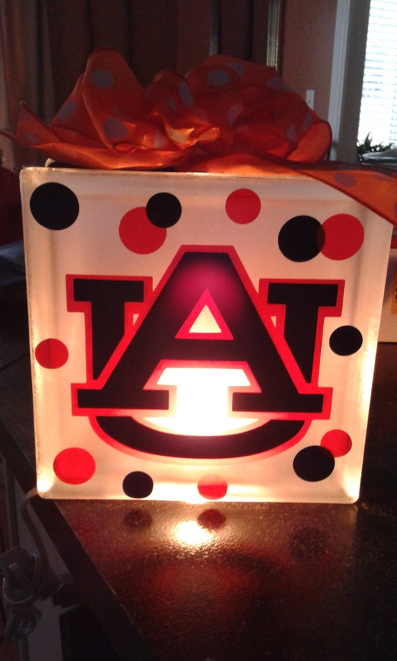 f58414bd6c9c06 Personalized Lighted Glass Block with Ribbon Auburn Ohio