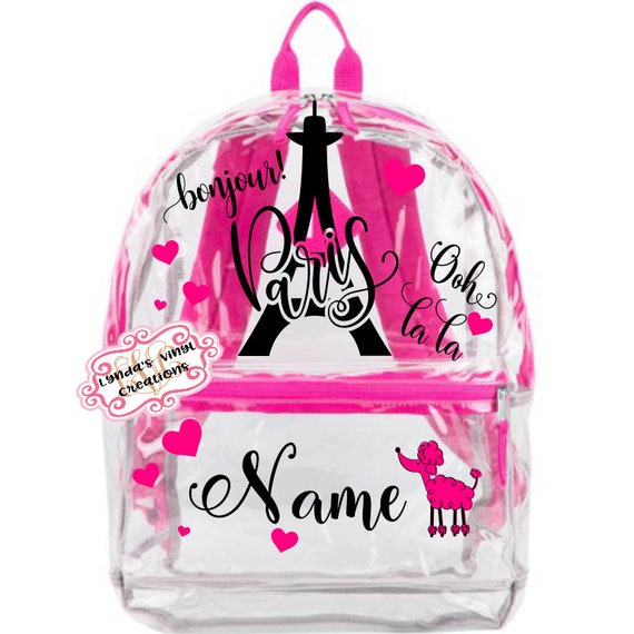 Paris Themed Personalized Clear Backpack  3c4404b397e1c