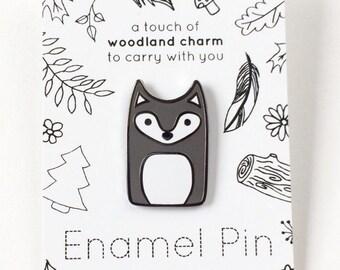 Wolf Pin - Hard Enamel Pins - Woodland Animal Lapel Pin - Wolf Jewelry - Wolves