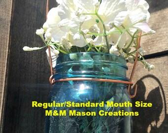 Copper Mason Jar Hanger / Holder / Handle / Wedding Decor Centerpiece/ Thick strong Copper wire / Shepard hook/ wedding