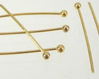 50 pieces of gold-colored rivet pins with ball in 3 lengths: 20 mm, 30 mm, 40 mm