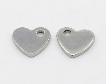 Silver, heart-shaped stainless steel blanks,logos,10 x 9 mm,various quantities