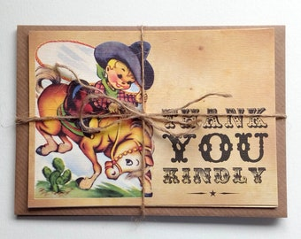 Thank You Notelets/Postcards - Thank You Kindly Little Cowboy Notelets
