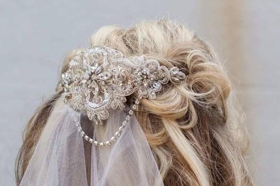 Diamante lace double comb bridal headpiece