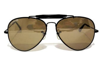 3ec5deb072bb3 Vintage Bausch and Lomb Ray Ban Sunglasses  50th Anniversary Edition  1987   The General  Aviator  Black Frames  Amber Tinted Lenses  62mm