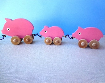 Wooden Mama Pig and Babies Pull Toy - Hand Painted - Pink - Wiggle As They Roll - Eco Friendly Kids Toy
