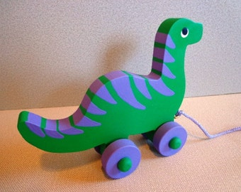 Wooden Dinosaur Pull Toy - Hand Made - Classic Wooden Toy -  Waldorf - Eco Friendly Kids Toy