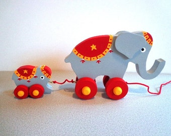 Wooden Circus Elephant With Baby - Hand Crafted - Waldorf - Classic - Eco Friendly Kids Toy