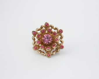Vintage Brooch Coro ~ Vintage Pin ~ Wedding Brooch ~ Bridal Shower Gift ~ Gold Tone with Pink Rhinestone Brooch