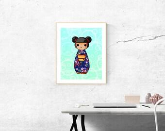 Printable: Akie Kokeshi Japanese doll.