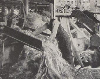 1930s Vintage Industrial Print of Manila Twine Manufacture - Philippines Art - Machinery Decor - Retro Filipino Decor - Retro Factory Print