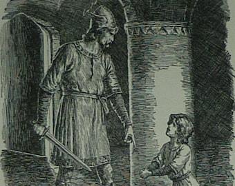 Vintage Scandinavian Folklore Print of Havelock the Dane by Arthur George Walker - Danish Folk Tale Art - Available Framed - Viking Decor