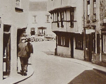 1930s Antique Somerset Print of Axbridge, Available Framed, Sepia Art, Sedgemoor Photography Gift, River Axe Decor, Mendip Hills Wall Art