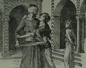 Vintage Arthur George Walker Print of Floris and Blancheflour - Golden Age of Book Illustration - Arabian Decor - Medieval Folklore Art