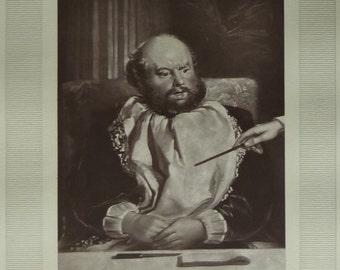 1870s Antique Charles Robert Leslie Print of Sancho Panza, Don Quixote Decor, Available Framed, Genre Art, Spanish Literature Photogravure