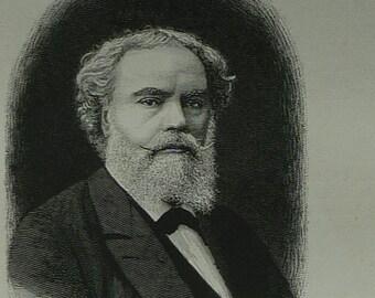 Antique 1880s Portrait Print of Academic Artist Alexandre Cabanel