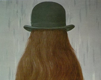 Vintage Surrealist Print by Rene Magritte, Available Framed, Surreal Art Abstract Gift for Artist Pan God of the Night Decor Bowler Hat Tail