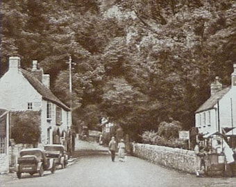 1930s Antique Cheddar Village Print, Sepia Decor, Available Framed, Somerset Art, Old Rural Photography Gift, Sedgemoor Picture Mendip Hills