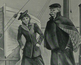 1890s Antique Print of a Victorian Man and Woman, Ship Decor, Available Framed, Sailing Art, Maritime Gift for Sailor, Old Nautical Picture