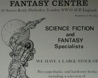 1970s Vintage Fantasy Centre Advert, Retro Bookshop Print, Science Fiction Wall Art, Available Framed, Sci-Fi Art, Space Merchants Book Shop