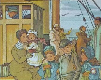 Upcycled Vintage Print of Victorian Children Aboard an Ocean Liner, 1960's print of Golden Age children's illustration, vintage nautical art