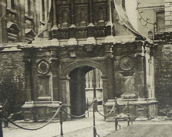 1920s Antique Architectual Print of the Renaissance Gate of Honour, Caius College Picture, Cambridge University, Available Framed, Arch Art