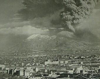 1940s Antique Mount Vesuvius Print, Erupting Volcano Decor, Available Framed, Naples Art Volcanic Eruption Picture Natural Disaster Wall Art