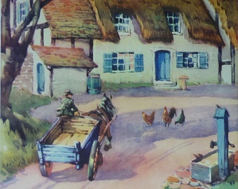 1950s Vintage Cottage Print, Available Framed, Fall Art, Rural Gift for Farmer, Autumn Wall Art, Autumnal Decor, Country House Thatched Roof