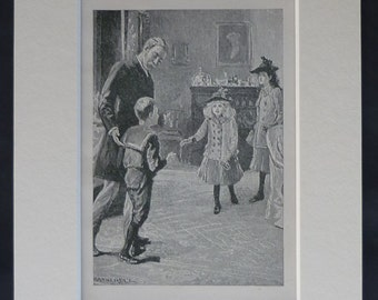 1890s Antique William Hatherell Print of Victorian Children 19th century childhood art print - Available Framed - Victorian Art - Wall Art