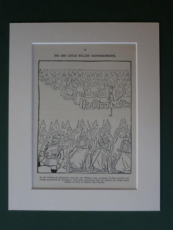 Original 1914 Wwi Propaganda Cartoon First World War Etsy