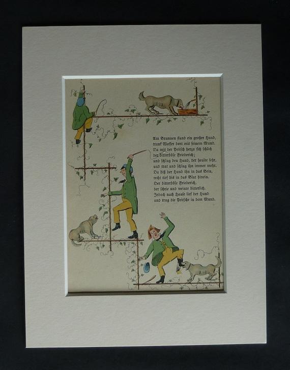 1920s Antique Children's Print from Struwwelpeter