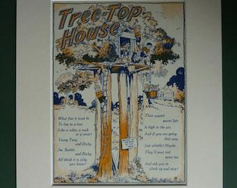 1950s Vintage Treehouse Print - Retro Nursery Art - Tree Top House - Vintage Boy's Gift - Retro Country Art - Vintage Children's Art Print