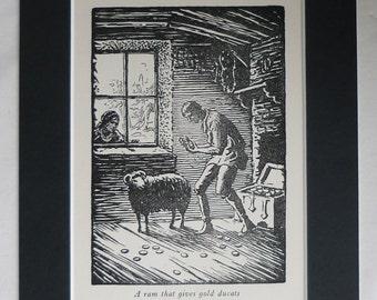 1928 Antique Kazimir Klepacki Print, Black Ram Decor, Available Framed, Childrens Art, Polish Folklore Jolly Tailor Folk Tale, Sheep Gift