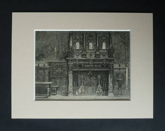 1880s Antique Fireplace Print of a Flemish Chimney Piece Hearth, Belgian Gift, Architectural Household Decor, Available Framed, Belgium Art