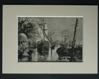 1890s Antique Nautical Print, Sailing Ships Decor, Available Framed, Maritime Art, Boat Picture, Victorian Wall Art, Harbor Gift, Out at Sea