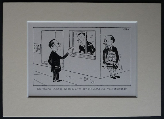 1950s Vintage German Political Cartoon By Oskar Retro European Etsy