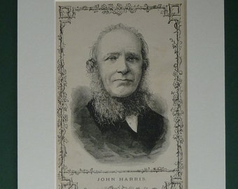 Antique print of Cornish poet John Harris,  Victorian portrait of a man, old Victorian art print of poet from Cornwall