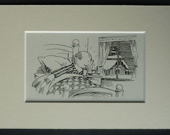1940s Vintage Children's Print of Percy Pig Bobby Bear artwork, retro artwork of an excited pig waking up - Available Framed - Pig Art