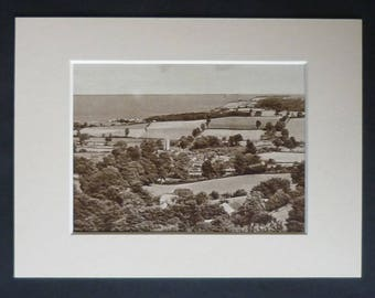 1930s Antique Matted Sepia Landscape Picture of Carhampton, Somerset