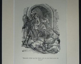 Vintage Scandinavian Folklore Print  of Havelock the Dane by Arthur George Walker - Danish Folk Tale - Medieval Illustration - Middle Ages