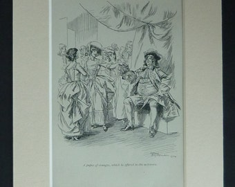 Antique William Makepeace Thackery Print from The History of Henry Esmond Esq Available Framed Matted Print 18th Century Decor Orange Farmer