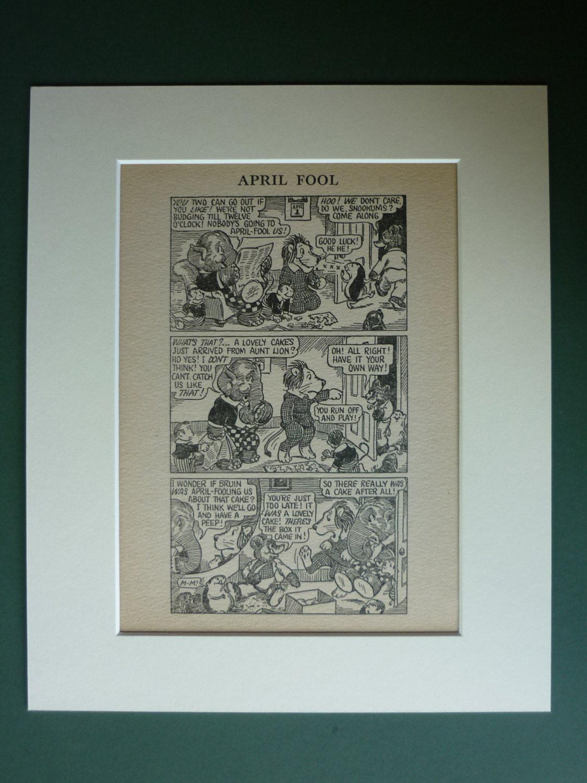 1920s Vintage Print Of An April Fool's Joke - Vintage Cartoon Animals -  Antique Comic Strip - April Fool Prank - Zoo Animal Gift - Comic Art