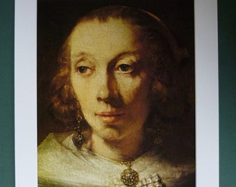 Large Vintage Print Of A Woman By Rembrandt - Beautiful - Oil Painting - Beauty - Dutch Art - Renaissance Art Print - Fine Art - Girl