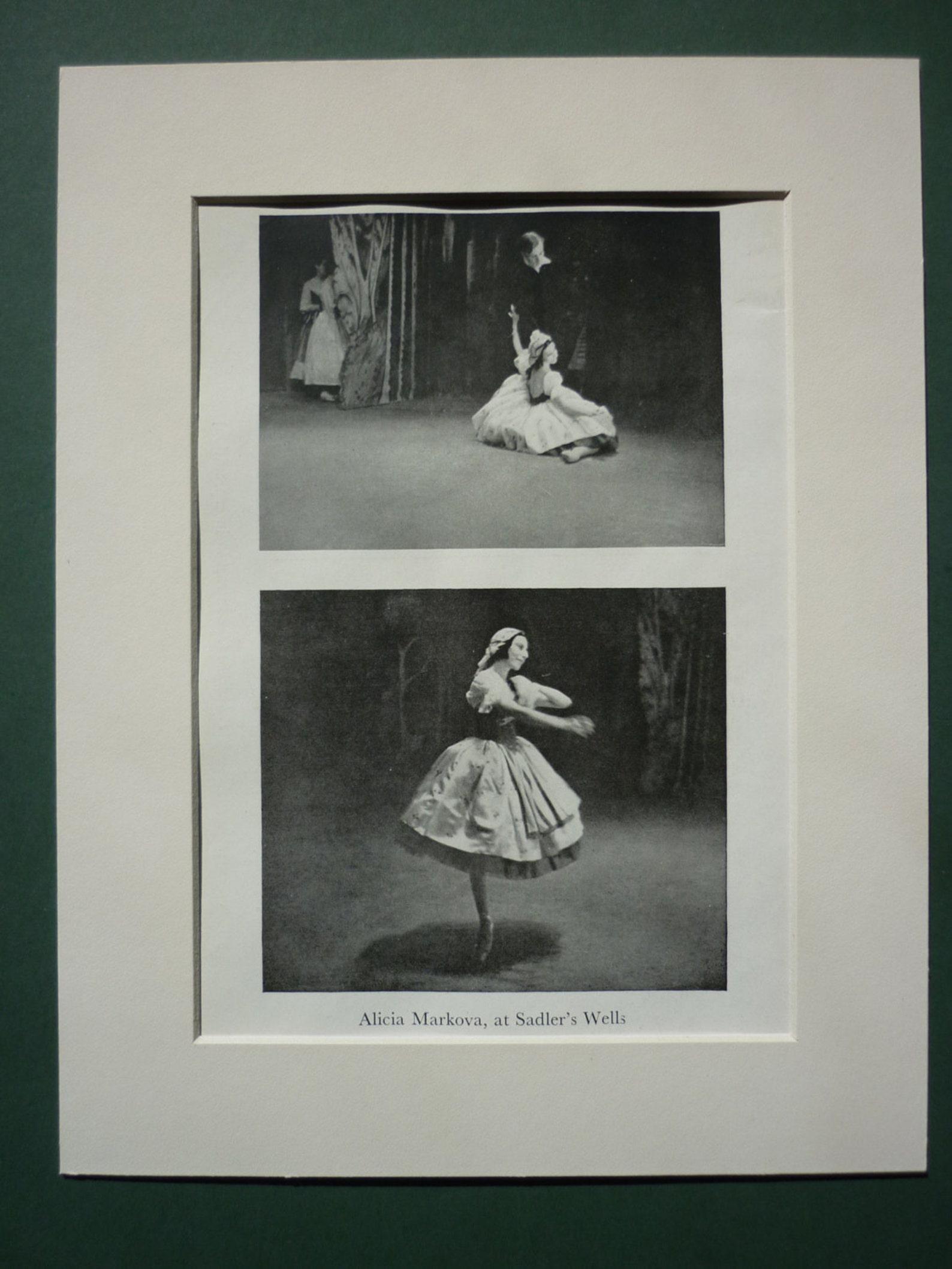 vintage 1946 ballet dancer print - ballerina - sadlers wells theatre - ballet studio - technique - alicia markova - dance - danc