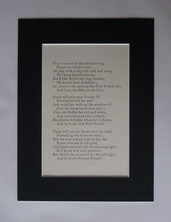 Mounted Cat Poetry Print From Rudyard Kiplings Just So Etsy