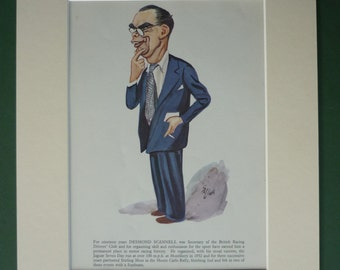 Original 1956 Ralph David Sallon Matted Caricature Print - Motor Racing - Motorsport - Car Race - 1950s Automobilia - Desmond Scannell