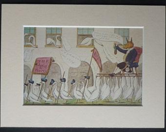 Vintage Print of a Satirical Cartoon Depicting the Re-Election of Charles James Fox, 18th century political satire art, Georgian politics