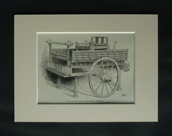 Antique 1880s Danish Historical Print of a Prehistoric Idol Car in the British Museum