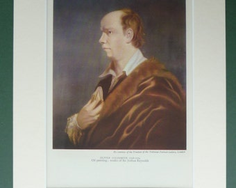 Vintage 1940s Oliver Goldsmith Print - Portrait - Oil Painting - Joshua Reynolds - Brown - Classic Literature - Vicar Of Wakefield